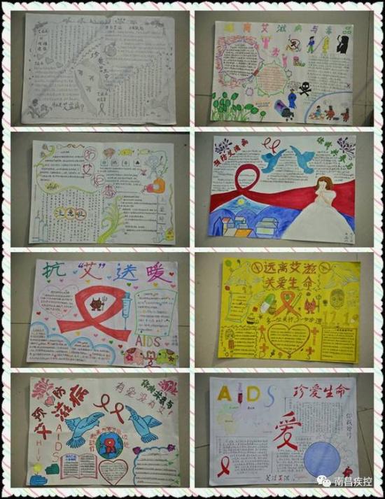 孩子们画笔下的红丝带图片