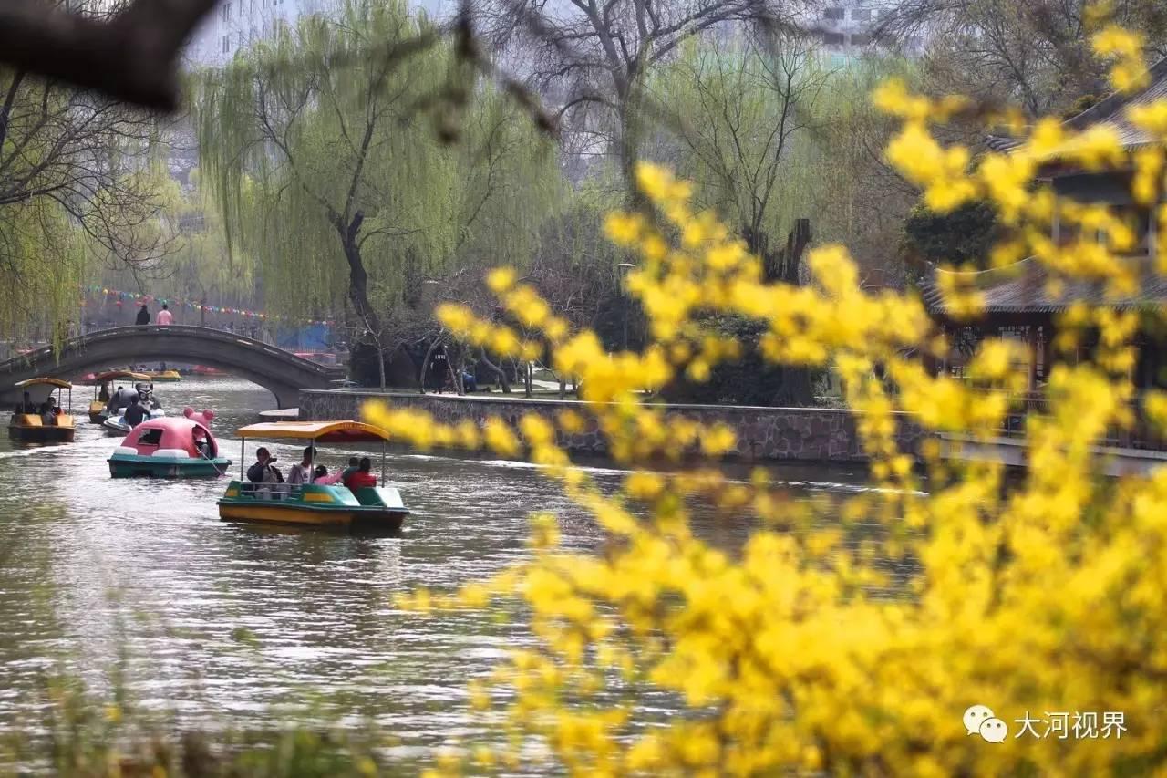 春日里划船赏景。