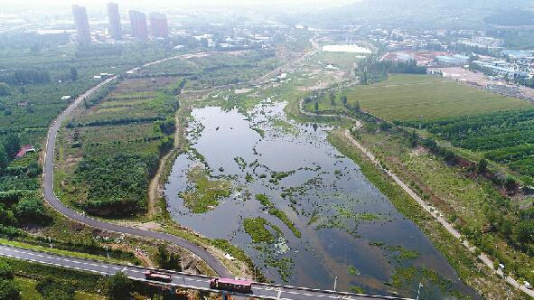 济南:降雨补源 玉符河成生态湿地