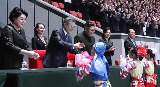 朝韩领导人同15万人共同观看大型团体操表演