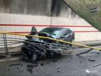 惊险!定海一轿车这样撞上栏杆,过程看了让人惊呆
