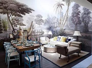 给人的第一印象就是林海雪原的感觉,与淡蓝色+白色的家具浑然一体,好像一幅美丽的风景画。