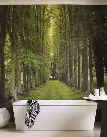 以绿色参天大树为背景,中间是一条宽阔的林荫大道,白色的浴池在其,好像沐浴在清新的自然中。