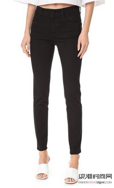 意大利制造深色紧身牛仔裤采用配色针脚,5口袋设计,纽扣设计搭