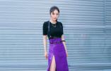 杨幂的这条紫色高开衩裙里藏了不少秘密!