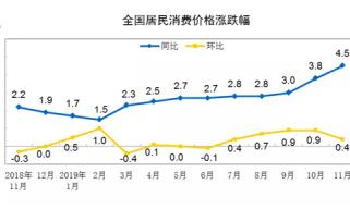 【数据发布】2019年11月份居民消费价格同比上涨4.5%