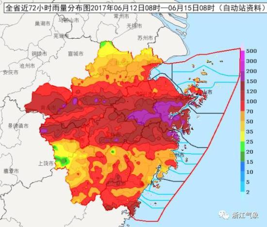 15-18 日雨带南压减弱,浙北地区迎来降水间歇期,但浙中南地区17日前仍多阵雨天气。