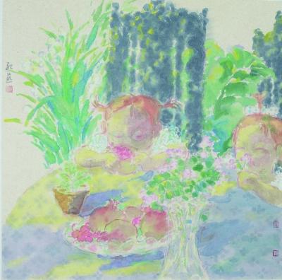 桌边女孩7(国画) 96.5×70厘米   韦红燕